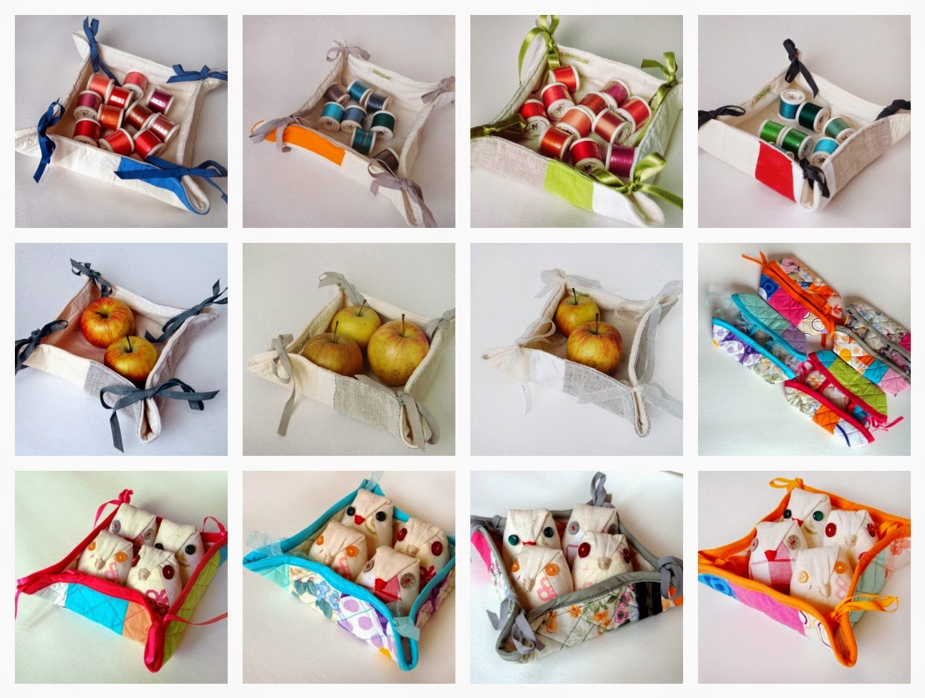 fabreic bread baskets or fabric storaze boxes by Domoshar Studios