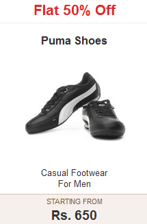 Flipkart :  Puma Shoes – Flat 50% Off starting from Rs 1650
