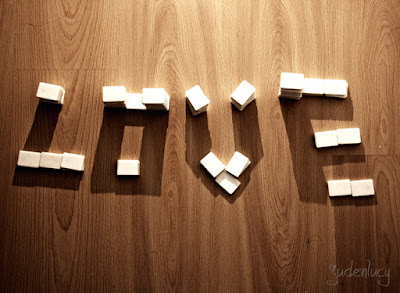 Word Love with Cube & Shadow Illusion