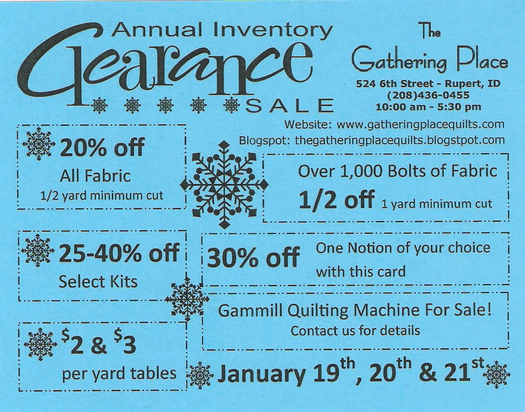 The Gathering Place Quilts: {Annual Inventory Clearance} Sale