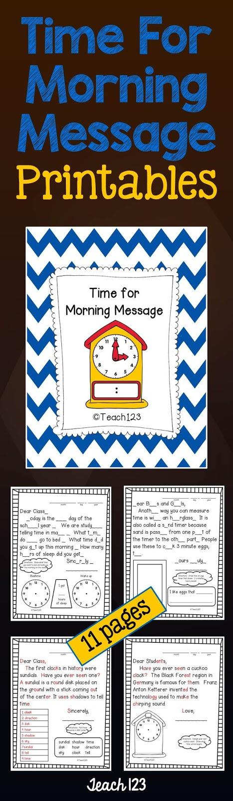 Teach 123's Time for Morning Message at TeachersPayTeachers