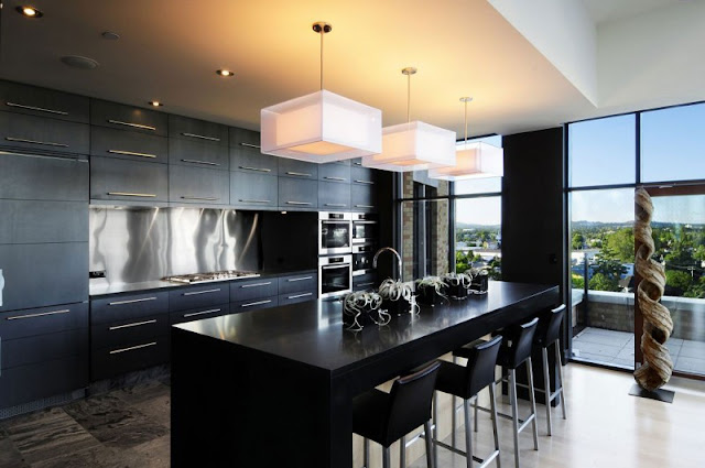 Picture of modern black kitchen furniture