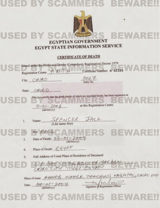 Fraud Fyi Fake Death Certificate And Deposit Certificate From