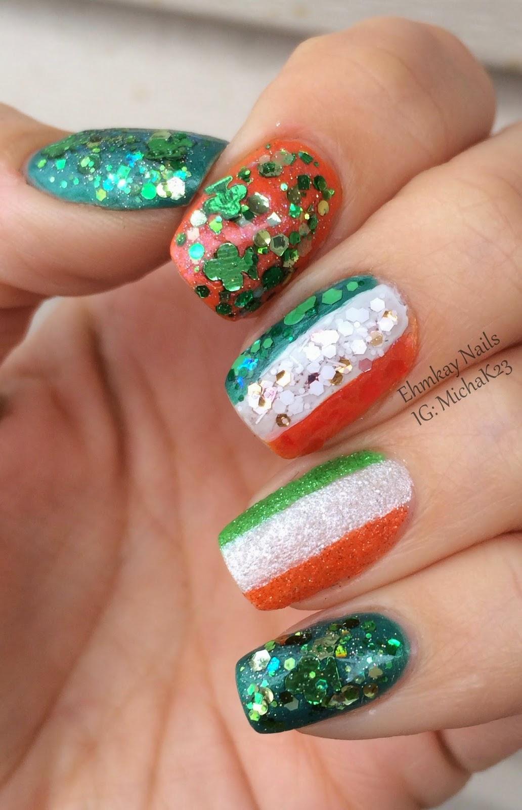 Nail Art Ideas shamrock nail art tutorial : ehmkay nails: Happy St. Patrick's Day Nails! Ireland Flag and ...