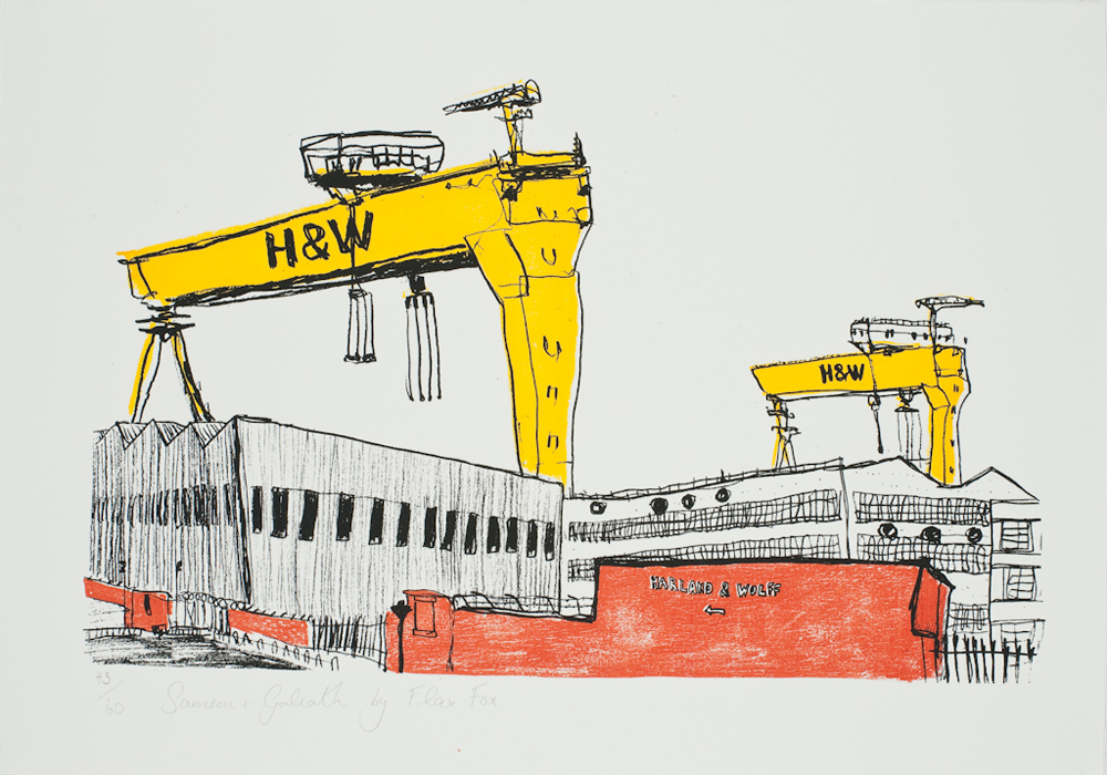 Samson and Goliath print by Flax Fox, Belfast