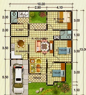 Denah Rumah Minimalis Type 90 1 Lantai