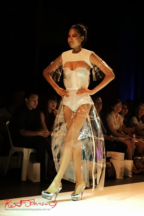 Rebecca Chen; clear plastic and white -  New Byzantium : Raffles Graduate Fashion Parade 2013 - Photography by Kent Johnson.