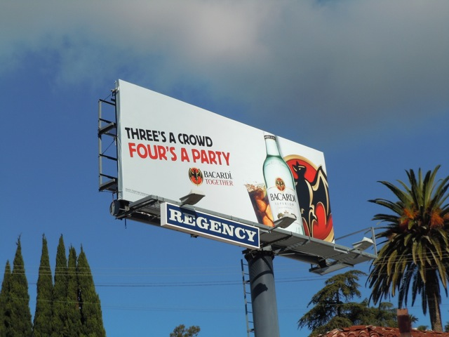 Bacardi four's a party billboard