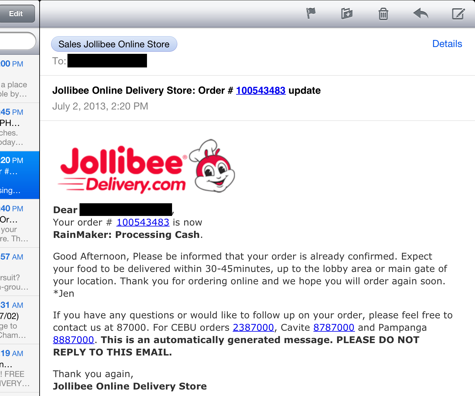 how to send jollibee in the philippines