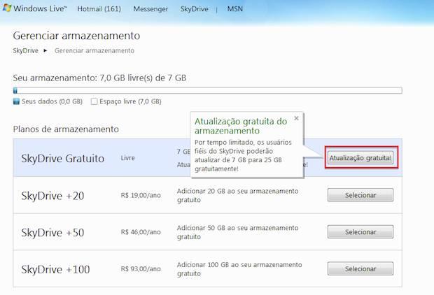 upgrade de 7GB para 25 GB no SkyDrive