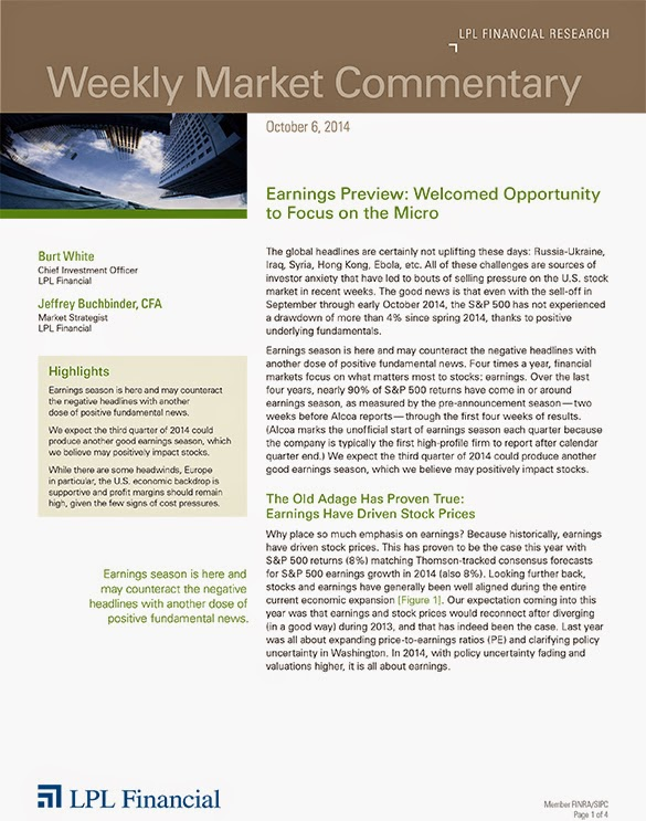 October 6, 2014 - LPL Financial Weekly Market Commentary from Legacy Wealth Planning