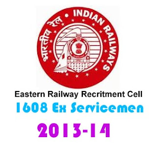 Eastern Railway Recruitment cell RRC 2013-14 kolkata ex servicemen 1608 posts rrcer.com