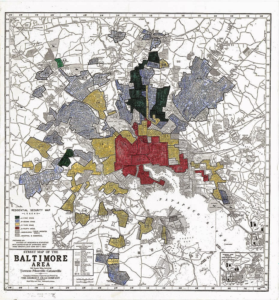 a map of baltimore for the u s home owners loan corp 1937 red areas were deemed strong risks for mortgages source baltimorebrew com
