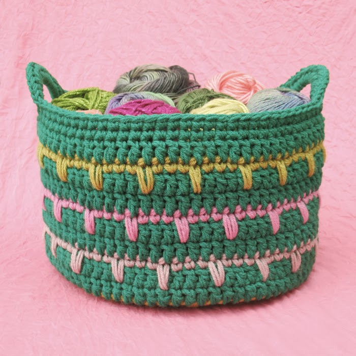 free crochet spike stitch basket pattern