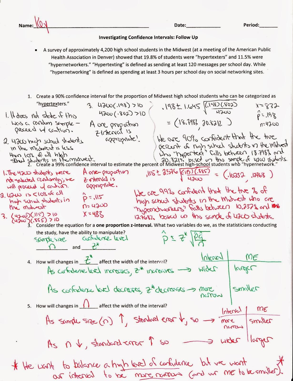 worksheet Confidence Interval Worksheet Luizah Worksheet And – Confidence Interval Worksheet