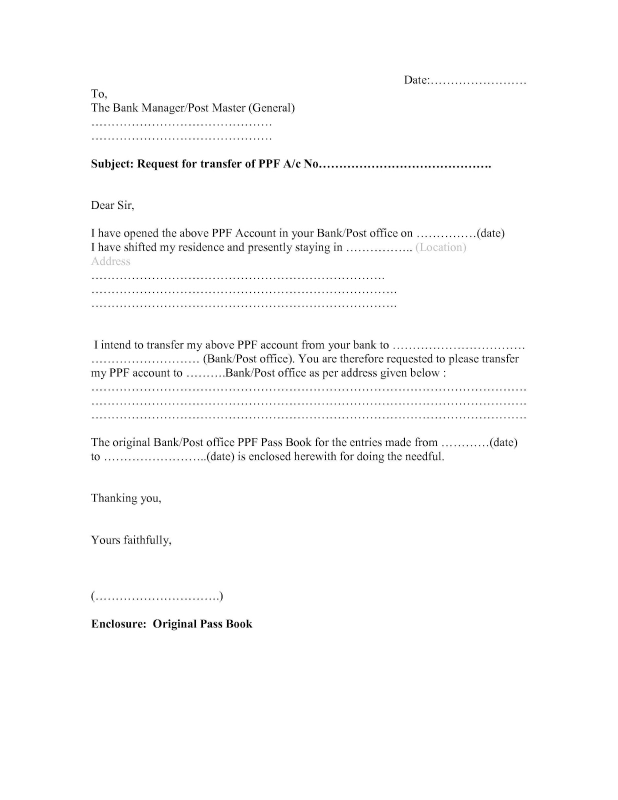 Format Of Letter For Bank Manager Cover Letter Templates