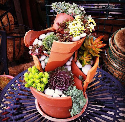 creative recycle craft with a broken pots