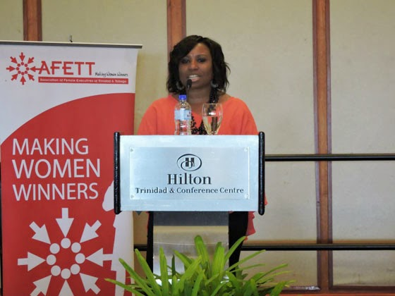 Dr. Camille Wardop-Alleyne, addressing the audience at the Association of Female Executives of Trinidad and Tobago's 2015 International Women's Day luncheon. Photo by Dawn Lafond, used with permission