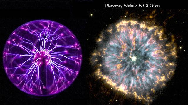 Bola de plasma y nebulosa planetaria NGC 6751. Crédito de NGC 6751, NASA and STScI/AURA