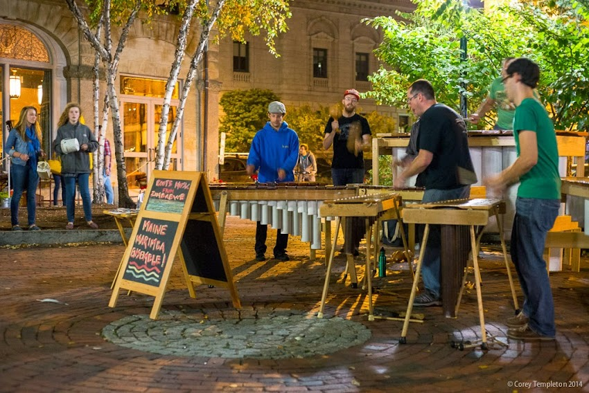 Portland, Maine the Maine Marimba Ensemble performing in the Old Port at Night October 2014 First Friday Art Walk photo by Corey Templeton