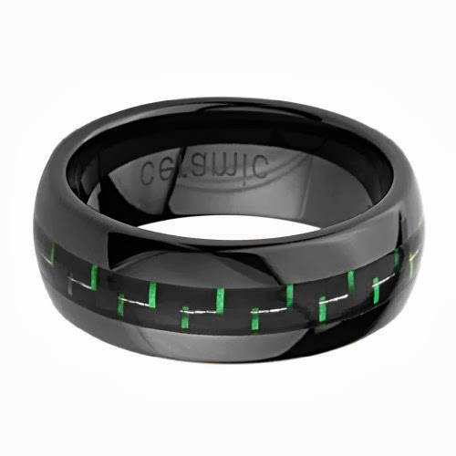 8mm Round Edge Fashion Ceramic Comfort Fit Green Carbon Fiber Fibre Wedding Band Ring (Size 5 to 15)