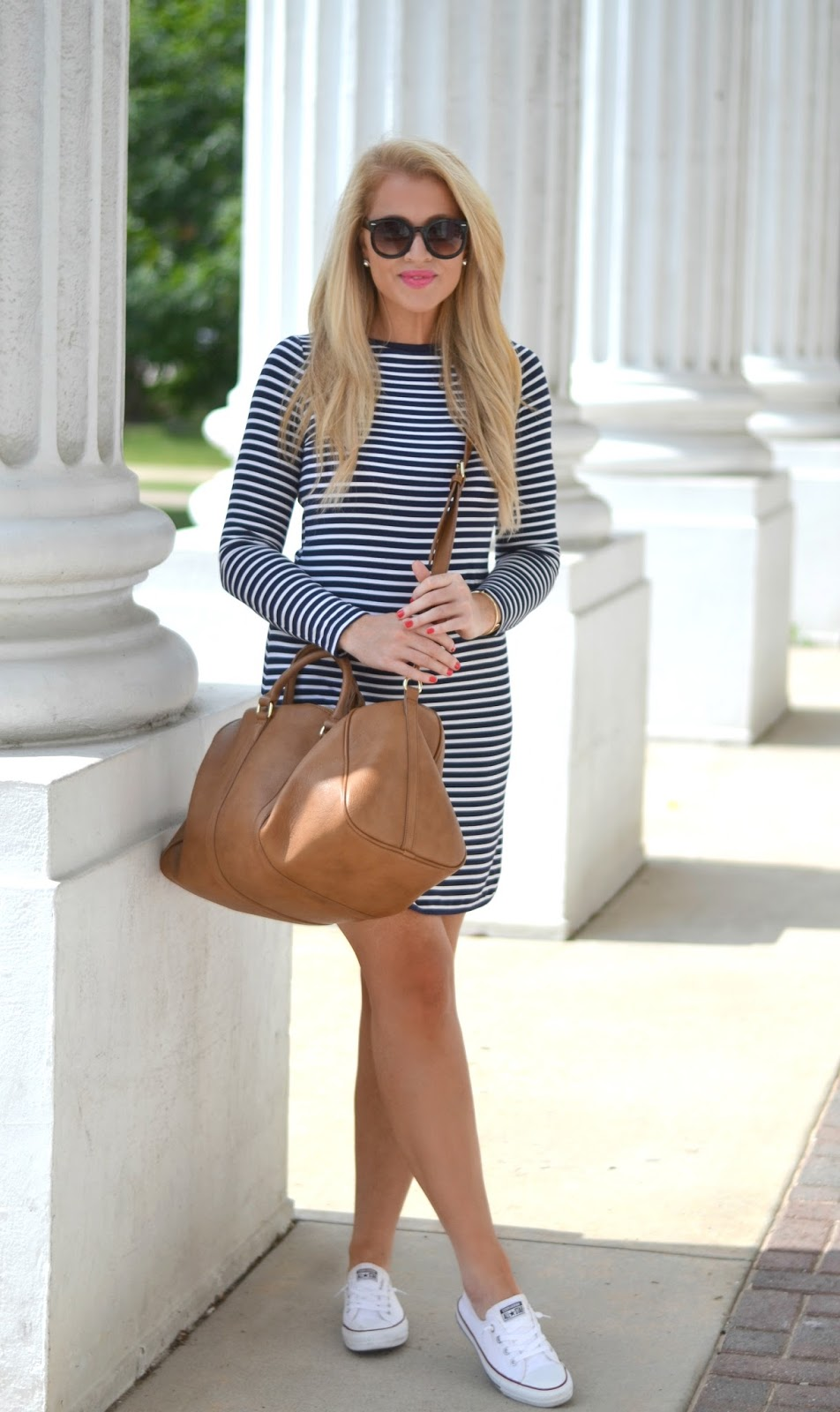 mott 50 navy and white stripe toni dress