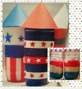 Mason Jar Crafts for Kids patriotic jars