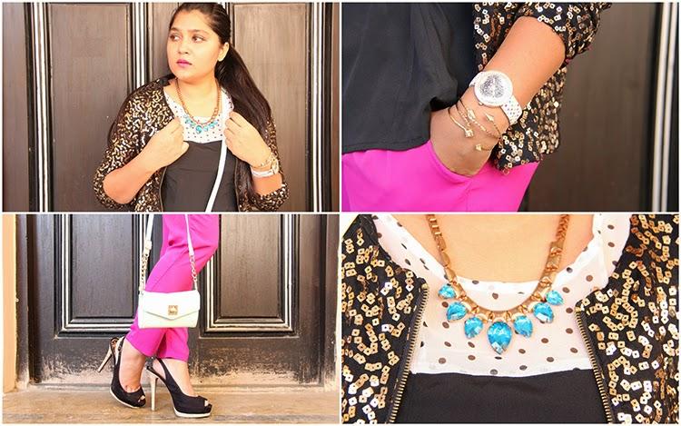 Sequin jacket, pink trousers, heels, neckpiece and watch