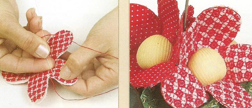 Pegue las flores y hojas sobre la base tapando la uni n - Alambre galvanizado manualidades ...