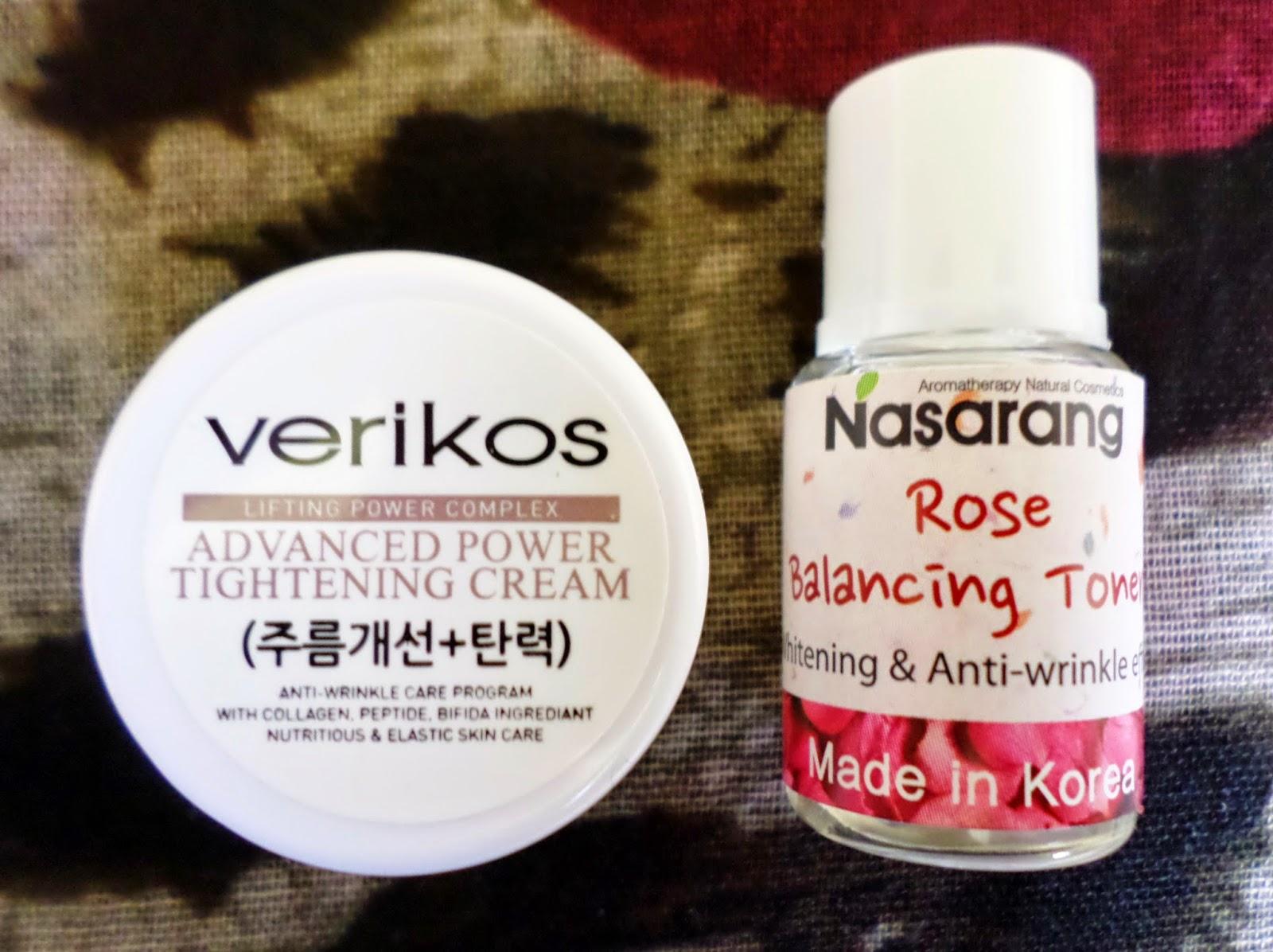 Nasarang Rose Balancing Toner and Verikos Advanced Power Tightening Cream  MEME Skincare Box