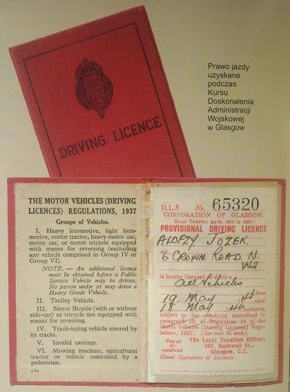 Prawo jazdy Alojzego Józekowskiego zdobyte w Glasgow