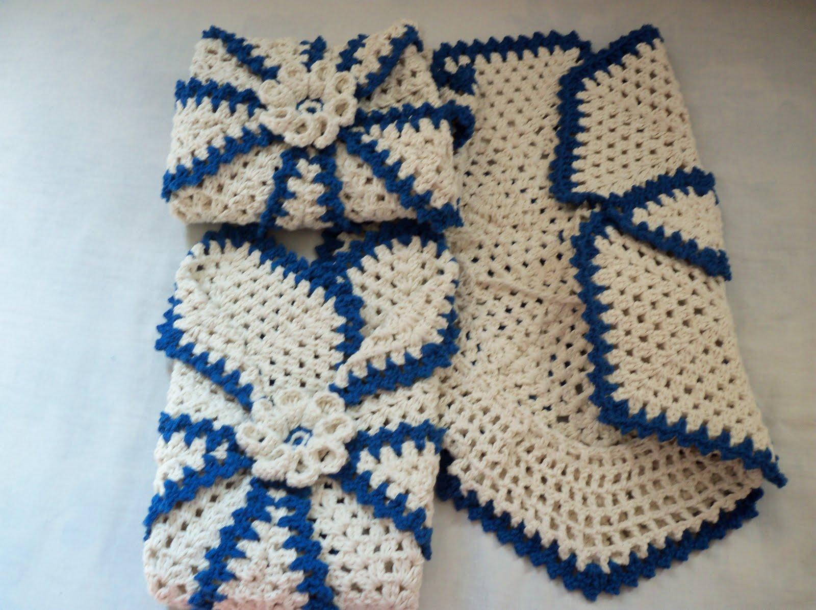 Kit Para Banheiro Artesanato ~ Edi artesanatos Jogo de Banheiro em croch u00ea azul