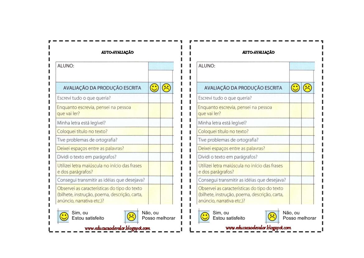 Tabela De Auto Avalia    O Da Produ    O Textual