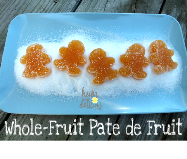 "whole fruit pate de fruit made without gelatin and molded into ""gingerbread people"""