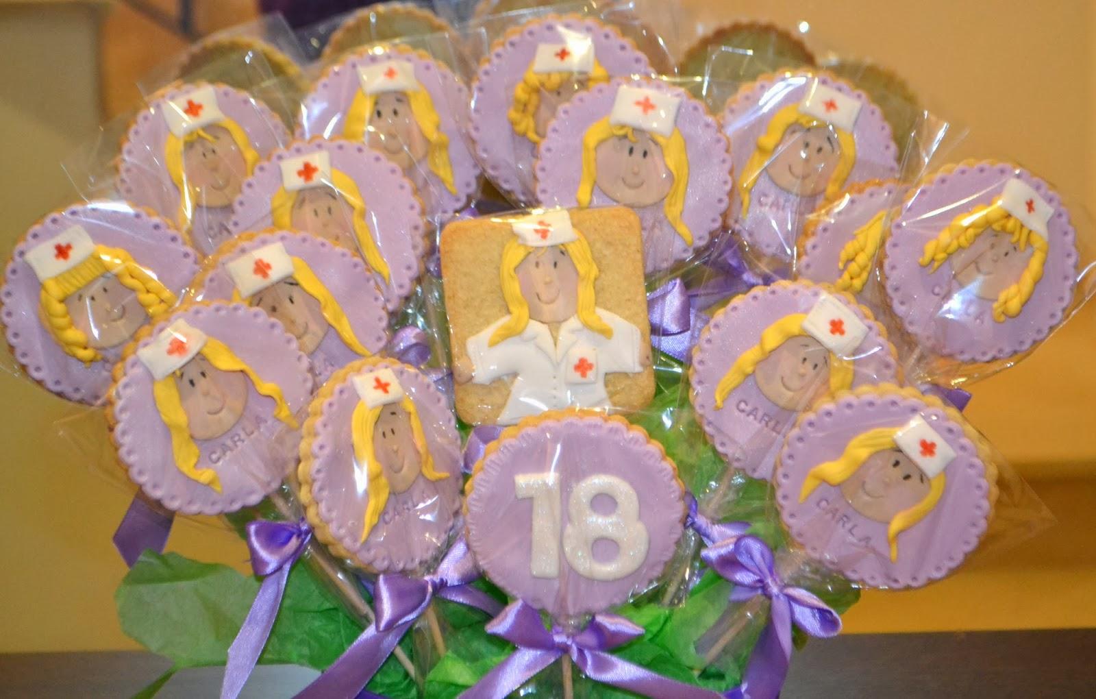fondant enfermera violeta cumpleaños 18 lazos raso empaquetadas individualmente