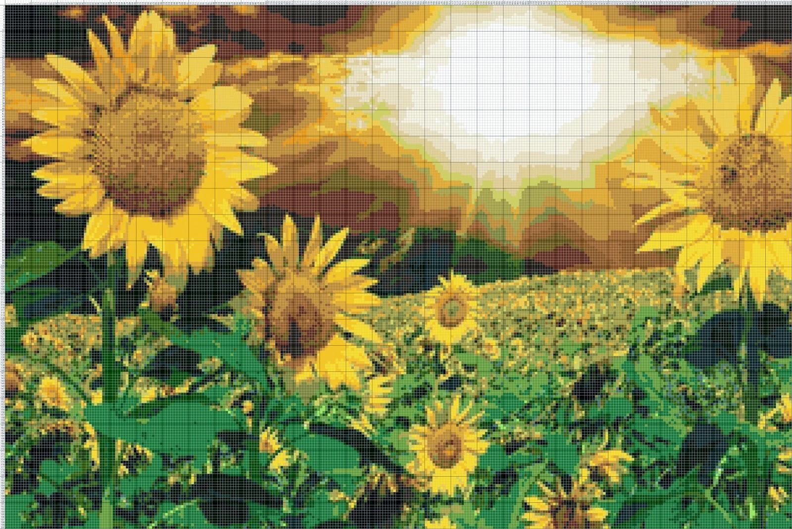 Gambar Pola Kristik Kebun Bunga Matahari
