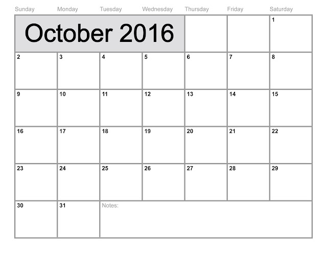 October 2016 Printable Calendar Cute, October 2016 Calendar with ...
