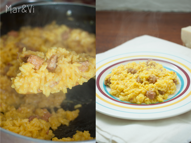 Receta casera de risotto alla milanese con salchichas