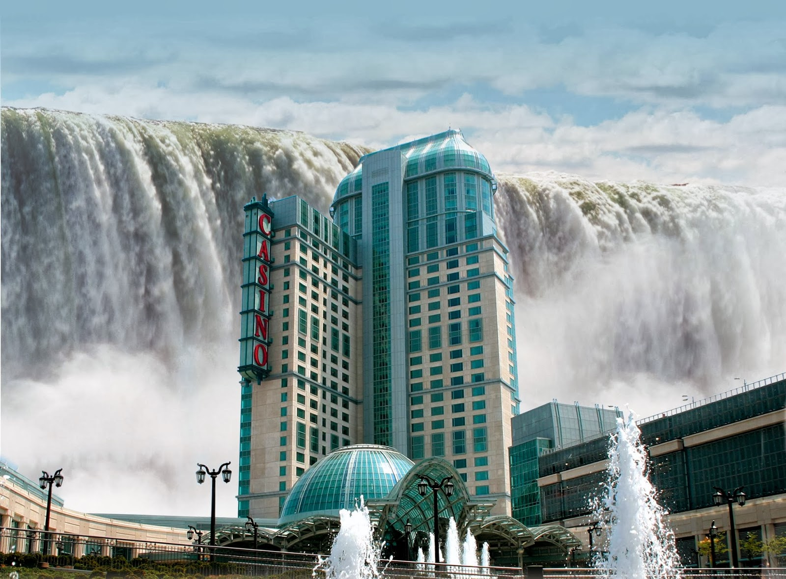 World visits welcome to niagara falls colorful view in for Beautiful hotels around the world