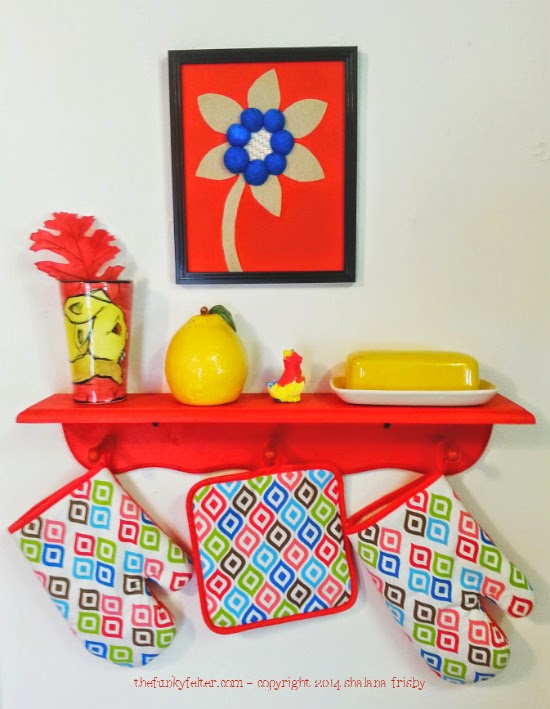 red kitchen recycled cardboard flower wall art by the funky felter