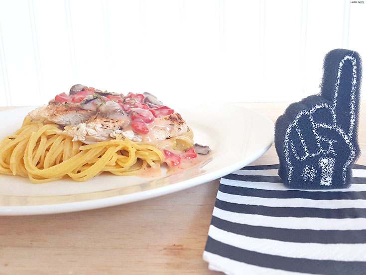 Get ready for a full belly and a good game with this easy to make creamy pasta recipe!