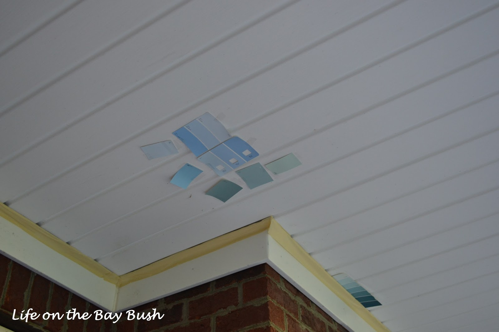 Painted porch ceiling life on the bay bush for Sherwin williams ceiling paint colors