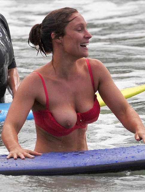 Lisa Gormley full boob slip, wearing red bikini at Palm Beach, Sydney