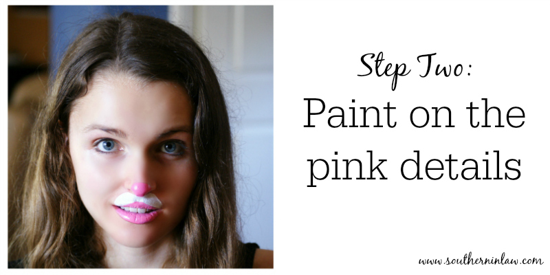 Bunny Face Paint. Kitten or Bunny Face Paint Step Two  on the Pink Details Southern In Law DIY Four Easy Halloween Painting Tutorials