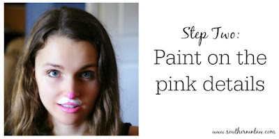 Kitten or Bunny Face Paint Step Two - Paint on the Pink Details