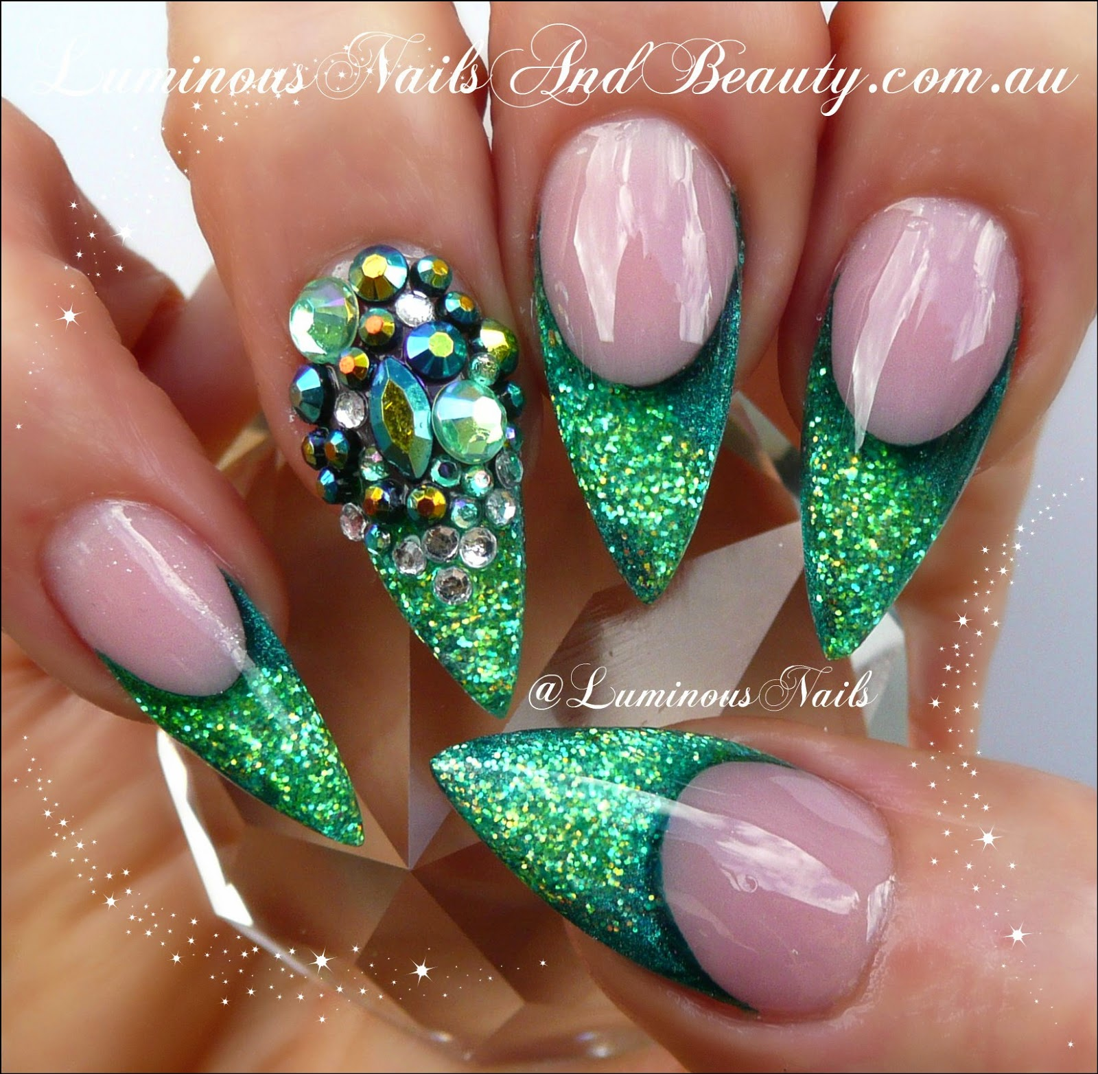 Green glitter nail designs prinsesfo Choice Image
