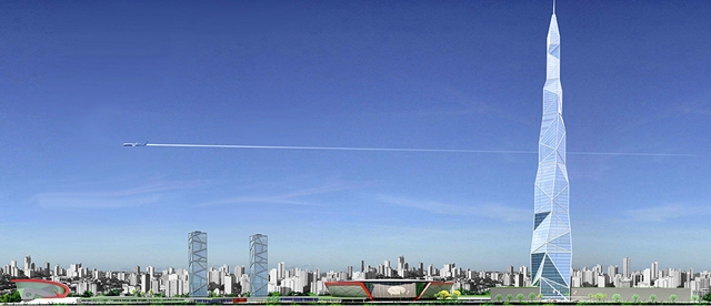 Rendering of new tallest building in Latin America and whole new complex with Belo Horizonte skyline
