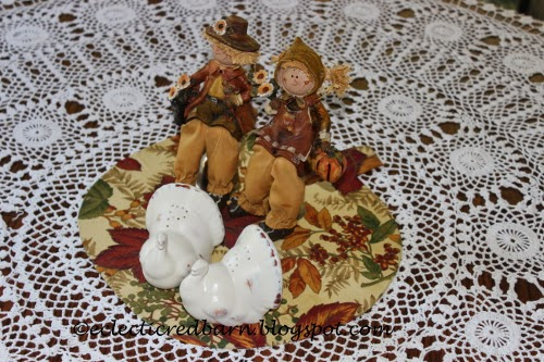 Eclectic Red Barn: Fabric pumpkin with scarecrows and painted shakers