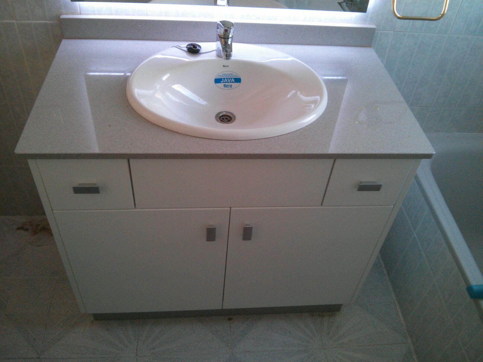Carpinteria los molinos mueble de ba o lacado blanco - Encimera bano silestone ...