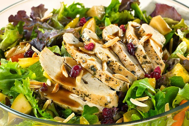 Mediterranean Chicken Salad with Almonds and Balsamic Pears recipe